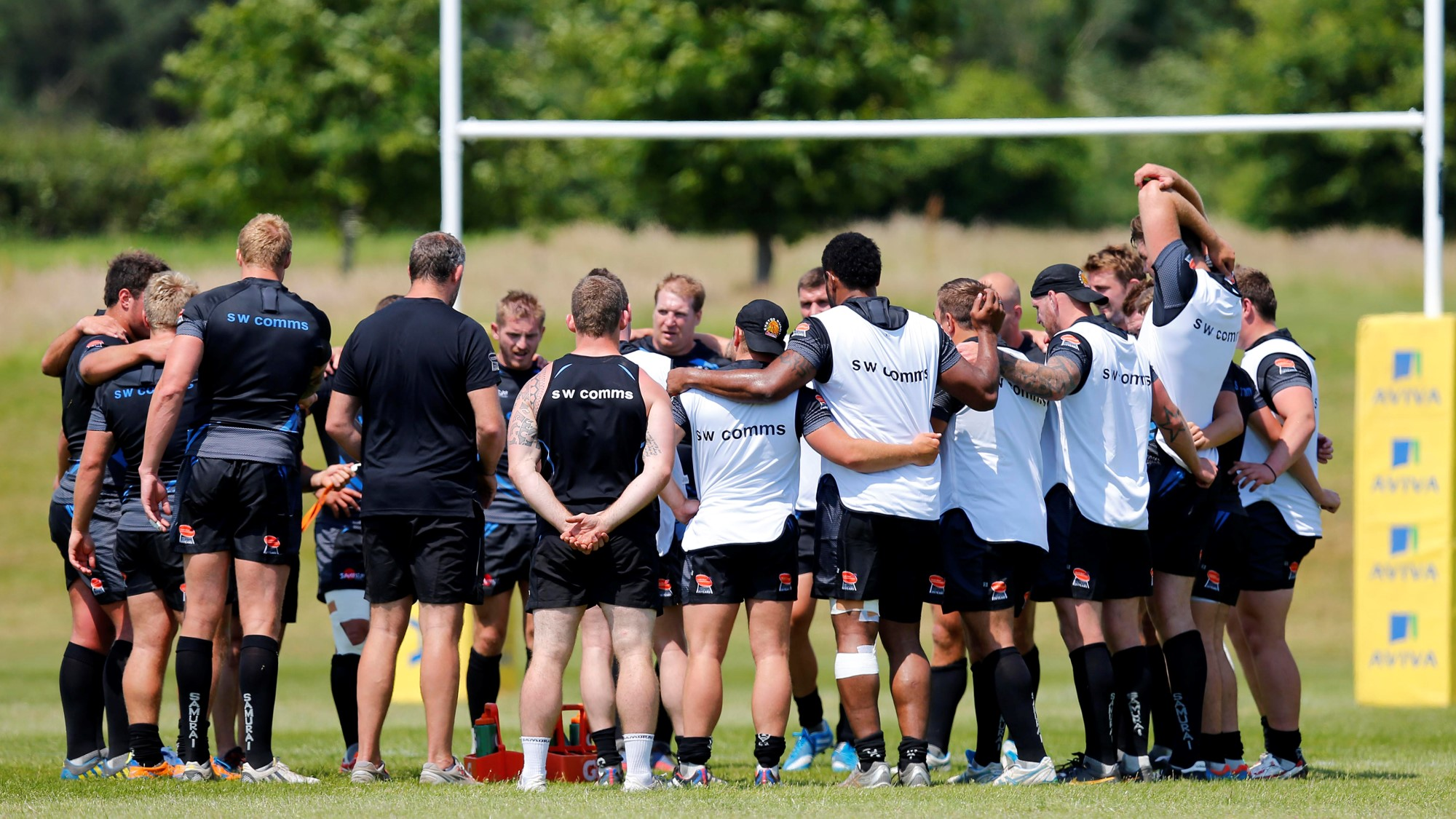 Exeter Chiefs team huddle